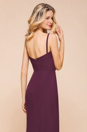 Fantastic Spaghetti Straps V-Neck Grape Bridesmaid Dress with Ruffle_9