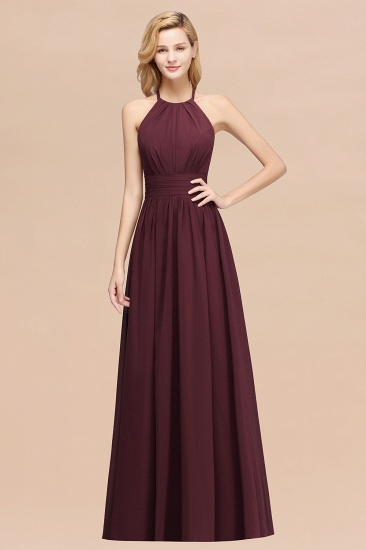 Elegant High-Neck Halter Long Affordable Bridesmaid Dresses with Ruffles_47