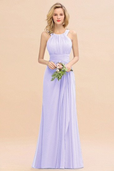 Elegant Round Neck Sleeveless Stormy Bridesmaid Dress with Ruffles_21