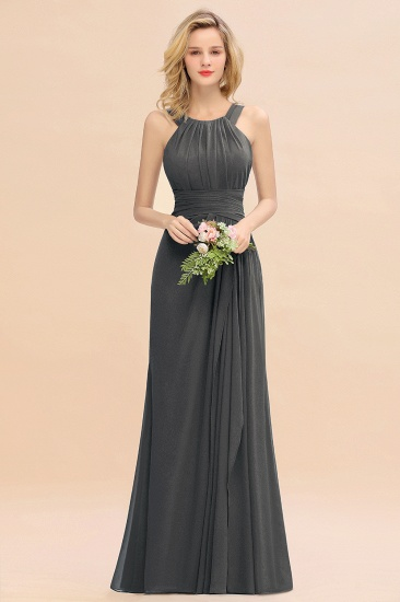 Elegant Round Neck Sleeveless Stormy Bridesmaid Dress with Ruffles_46