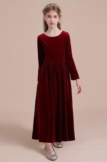 BMbridal A-Line Long Sleeve Velvet Flower Girl Dress On Sale_8