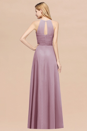 BMbridal Halter Crisscross Pleated Bridesmaid Dress Blue Chiffon Sleeveless Maid of Honor Dress_52