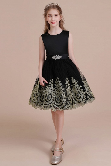 BMbridal A-Line Appliques Satin Tulle Flower Girl Dress Online_5
