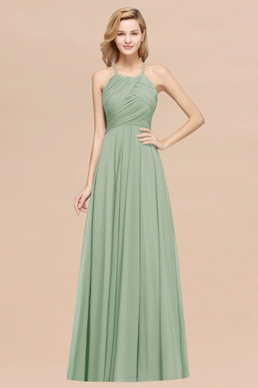 BMbridal Halter Crisscross Pleated Bridesmaid Dress Blue Chiffon Sleeveless Maid of Honor Dress_41