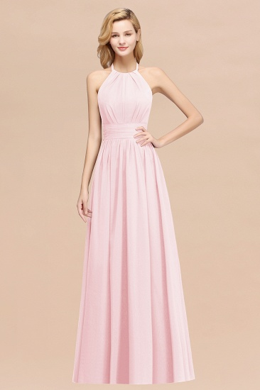 BMbridal Elegant High-Neck Halter Long Affordable Bridesmaid Dresses with Ruffles_3