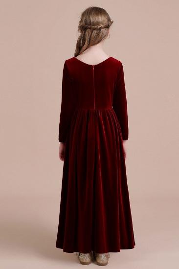BMbridal A-Line Long Sleeve Velvet Flower Girl Dress On Sale_3