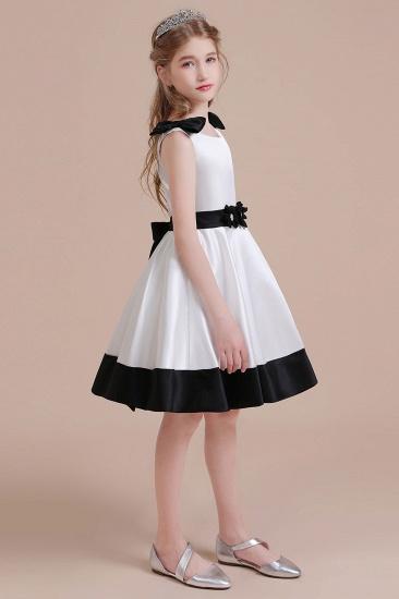 BMbridal A-Line Latest Satin Knee Length Flower Girl Dress Online_5