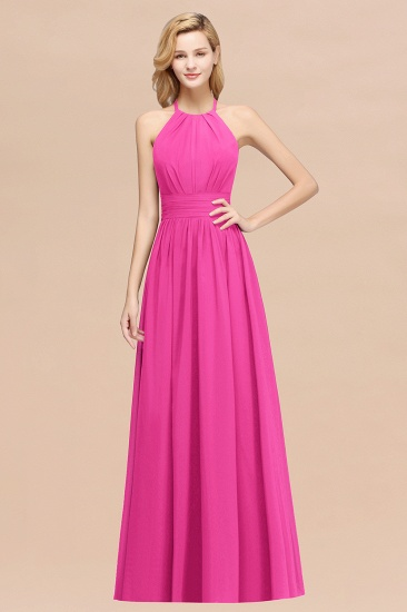 Elegant High-Neck Halter Long Affordable Bridesmaid Dresses with Ruffles_9