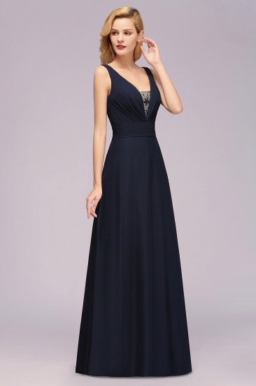 Modest Chiffon V-Neck Long Bridesmaid Dress Online with Beadings_5