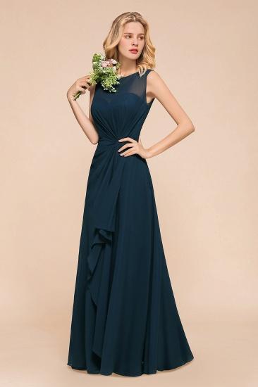 BMbridal Beautiful Chiffon Jewel Ruffle Navy Affordable Bridesmaid Dresses Online_6