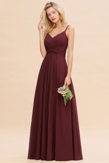 Modest Ruffle Spaghetti Straps Backless Burgundy Bridesmaid Dresses Cheap_56