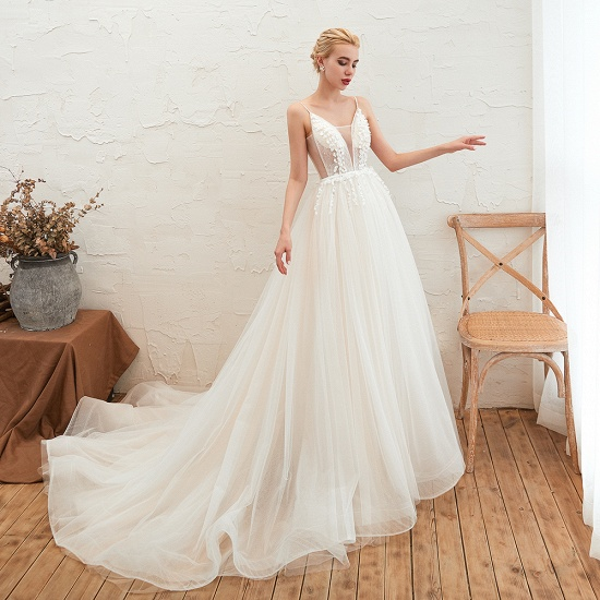 Chic Spaghetti Straps V-Neck Ivory Tulle Wedding Dresses with Appliques_7
