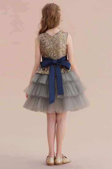 BMbridal A-Line Sequins Tulle Knee Length Flower Girl Dress On Sale_3