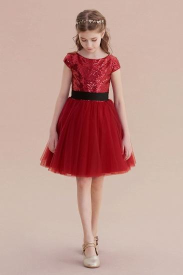 BMbridal A-Line Cap Sleeve Sequins Tulle Flower Girl Dress On Sale_5