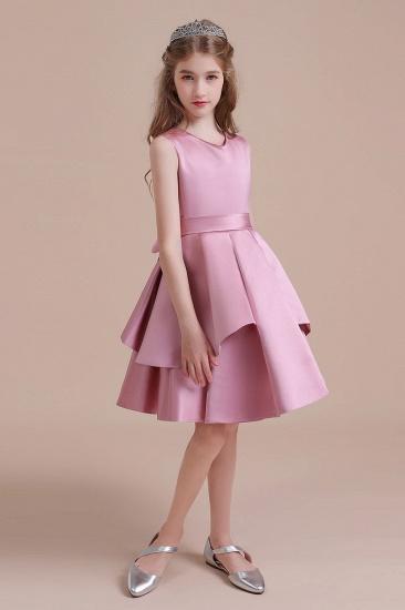 BMbridal A-Line Best Satin Knee Length Flower Girl Dress Online_5