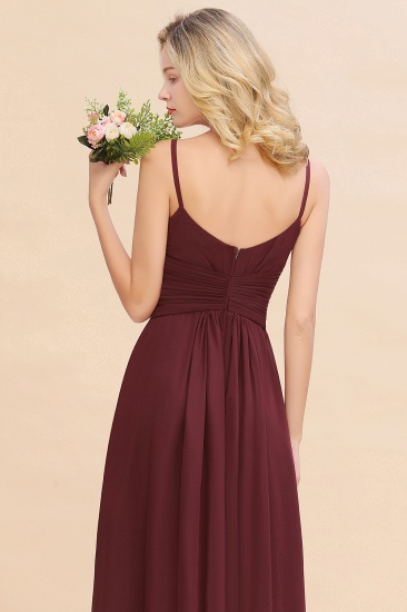 Modest Ruffle Spaghetti Straps Backless Burgundy Bridesmaid Dresses Cheap_58