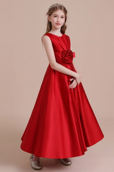 BMbridal A-Line Chic Satin Ankle Length Flower Girl Dress Online_5