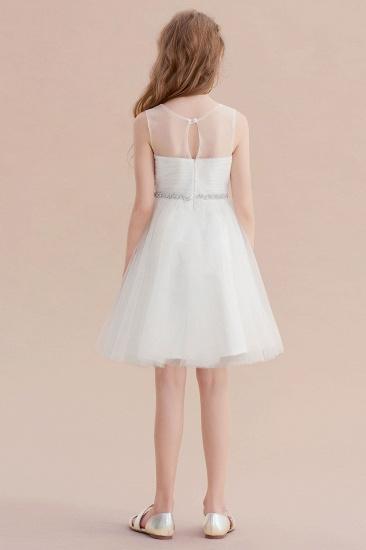 BMbridal A-Line Illusion Knee Length Tulle Flower Girl Dress Online_3
