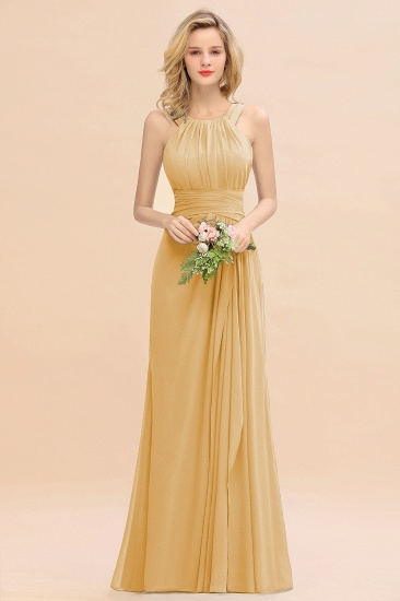 Elegant Round Neck Sleeveless Stormy Bridesmaid Dress with Ruffles_13