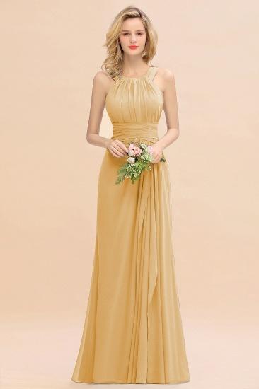 BMbridal Elegant Round Neck Sleeveless Stormy Bridesmaid Dress with Ruffles_13