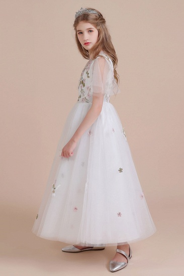 BMbridal A-Line Short Sleeve Embroidered Tulle Flower Girl Dress On Sale_8