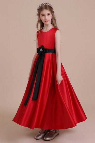 BMbridal A-Line Elegant Satin Flower Girl Dress Online_6