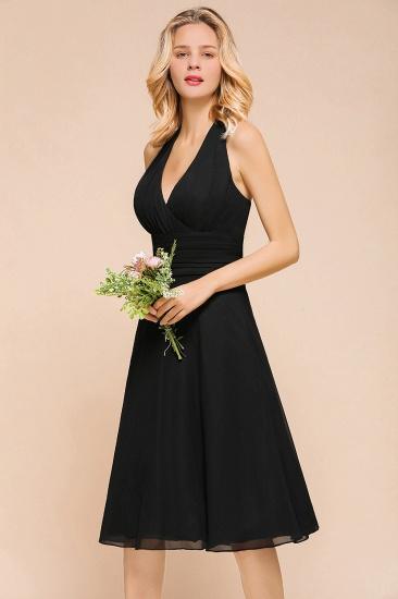 BMbridal Affordable Halter V-Neck Black Short Bridesmaid Dresses Online_8