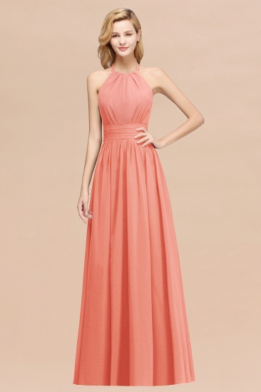 Elegant High-Neck Halter Long Affordable Bridesmaid Dresses with Ruffles_45