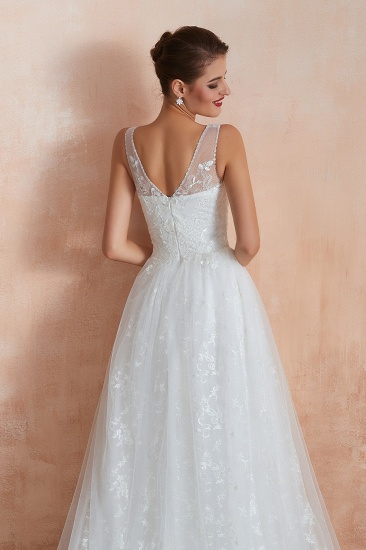 BMbridal Affordable V-Neck Tulle Lace Long White Wedding Dresses Online_11