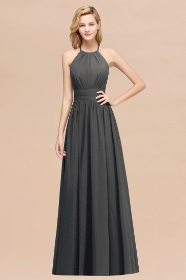Elegant High-Neck Halter Long Affordable Bridesmaid Dresses with Ruffles_46