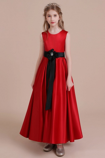 BMbridal A-Line Elegant Satin Flower Girl Dress Online_5