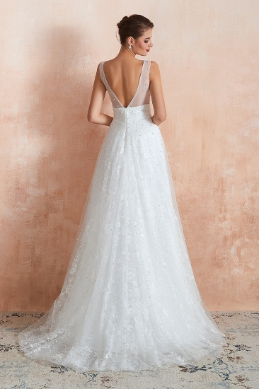 Fantastic V-Neck Sleeveless White Appliques Wedding Dress With Pearls_3