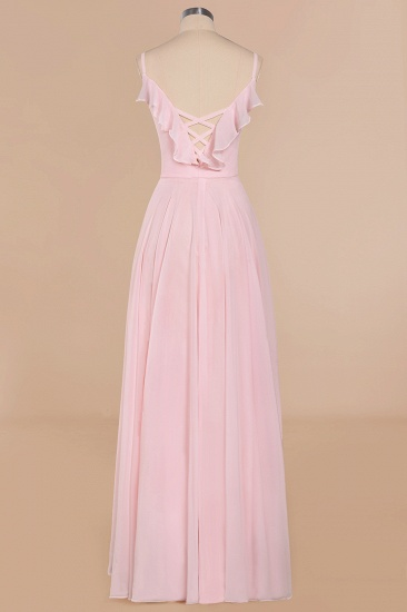 Stylish Draped V-Neck Pink Chiffon Bridesmaid Dress with Spaghetti Straps_11