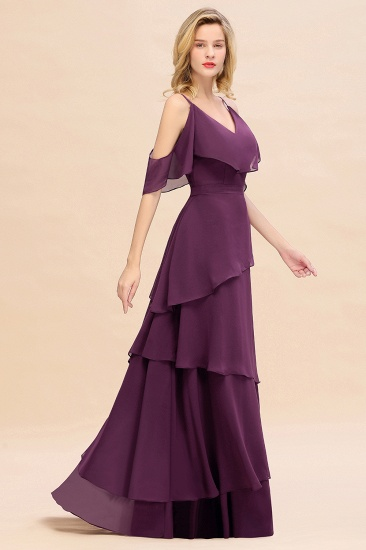 BMbridal Chic Cold-Shoulder Layers Grape Chiffon Bridesmaid Dress Affordable_7