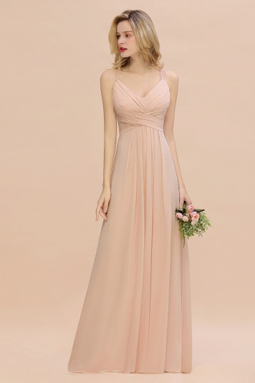 Elegant Spaghetti Straps Pink Backless Bridesmaid Dresses with Beadings_6