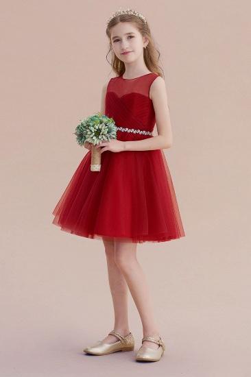 BMbridal A-Line Illusion Tulle Knee Length Flower Girl Dress Online_6