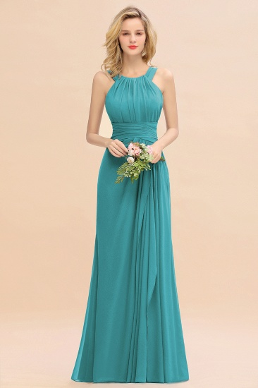 Elegant Round Neck Sleeveless Stormy Bridesmaid Dress with Ruffles_32