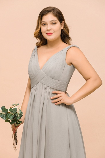 BMbridal Plus Size Chiffon V-neck Sleeveless Affordable Bridesmaid Dress with Ruffle_8