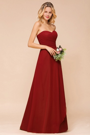 Gorgeous Sweetheart Strapless Rust Bridesmaid Dresses with Ruffle_7