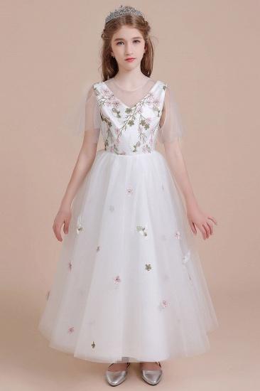 BMbridal A-Line Short Sleeve Embroidered Tulle Flower Girl Dress On Sale_1