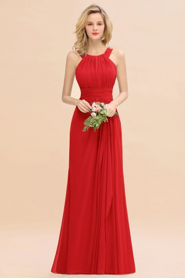 Elegant Round Neck Sleeveless Stormy Bridesmaid Dress with Ruffles_8