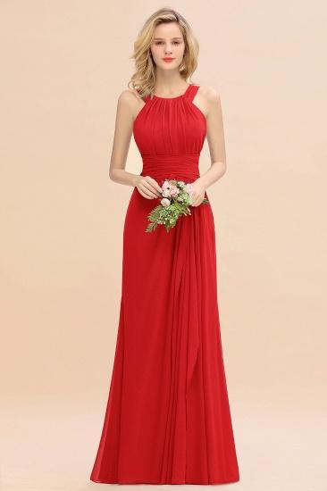 BMbridal Elegant Round Neck Sleeveless Stormy Bridesmaid Dress with Ruffles_8