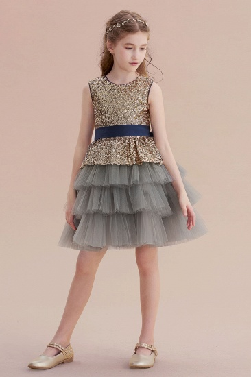 BMbridal A-Line Sequins Tulle Knee Length Flower Girl Dress On Sale_7