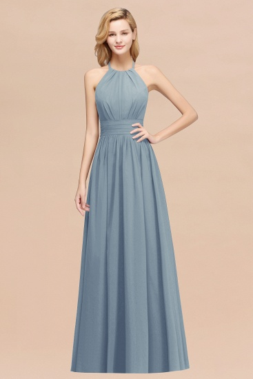 Elegant High-Neck Halter Long Affordable Bridesmaid Dresses with Ruffles_40