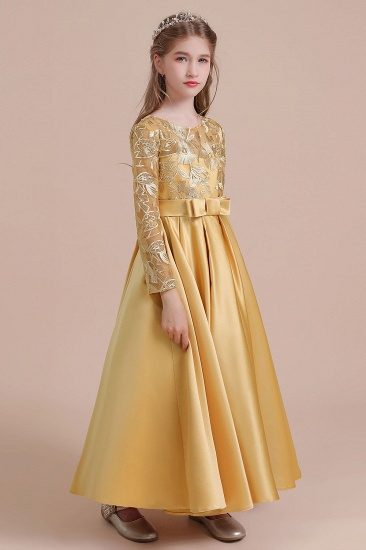 BMbridal A-Line Long Sleeve Satin Ankle Length Flower Girl Dress Online_4