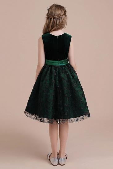 BMbridal A-Line Lace Velvet Knee Length Flower Girl Dress Online_3