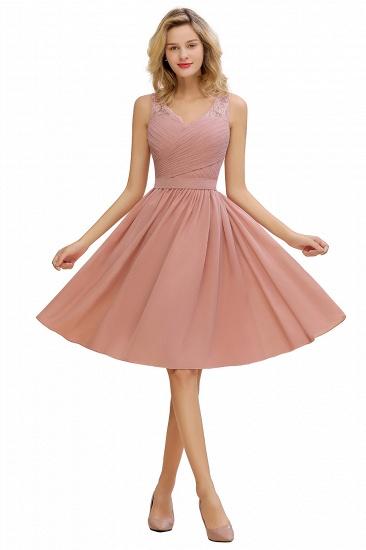 BMbridal A-line Chiffon Ruffle Bridesmaid Dress Sleeveless Lace Homecoming Dress_1