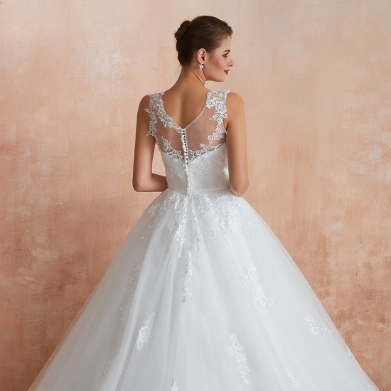 Affordable Sweetheart Sleeveless White Lace Wedding Dresses Online_12