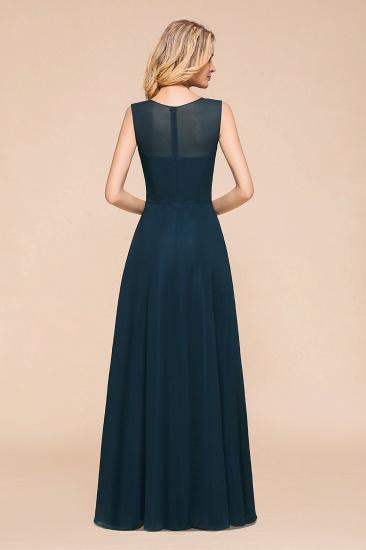 BMbridal Beautiful Chiffon Jewel Ruffle Navy Affordable Bridesmaid Dresses Online_3