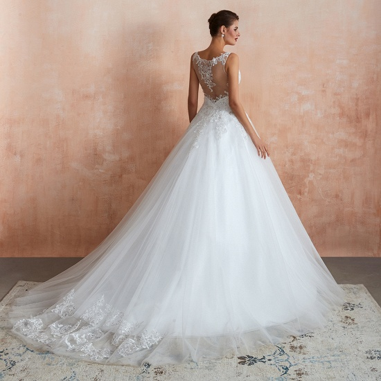 Fantastic Tulle Appliques Sleeveless White Wedding Dresses Online_4